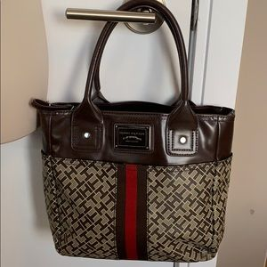 TOMMY HILFIGER Signature Logo Rare Brown Red Purse